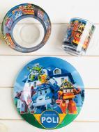 Набір скляного посуду для годування дітей Metr+ Робокар Поллі