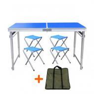 Набор мебели для пикника Easy Camping стол усиленный раскладной с чехлом и 4 стула Синий