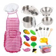 Дитячий кухонний ігровий набір Deluxe Chef Set з фартухом/металевим посудом/аксесуарами 23 шт.