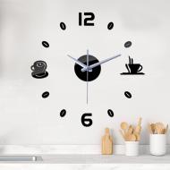 3D-часы настенные Coffee для кухни Зеркально-черный