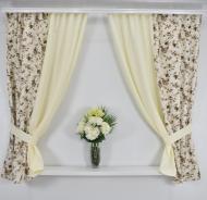 Комплект штор для кухни Цветочный Сад Коричневый (33058)
