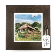 Ключница настенная деревянная Украина Дом с мальвами 23х23 см Коричневий (укк06к)