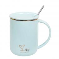 Чашка-заварочник фарфоровая Flora Love 0,43 л Голубой (31810)