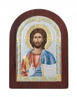 Икона Спаситель Agio Silver 7,5x5,7 см серебро 925° эмаль с позолотой Коричневый