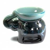 Аромалампа керамичеcкая Слон 9х11,5х8 см Черно-бирюзовый