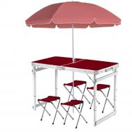 Туристический стол и 4 стула с зонтиком 1,8 м Коричневый