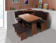 Кухонний куточок з ДСП Мікс Меблі Симфонія зі столом і двома табуретами м'який Горіх темний/Шоколад