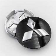 Ковпак заглушка в литі диски Mitsubishi 60 мм 1 шт. Чорний/Хром