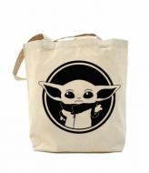 Еко-сумка шоппер з принтом повсякденна Baby yoda monochrom