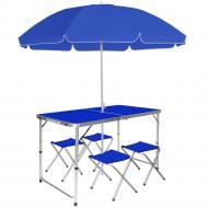 Розкладний стіл для пікніка з 4 стільцями і парасолькою Aluprom 180 см Синій