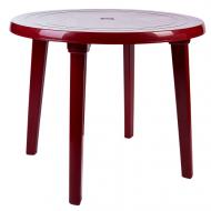 Стіл пластиковий Алеана круглий D 90 см Вишнево-червоний