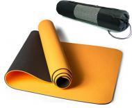 Килимок для йоги EasyFit TPE+TC 183х61 см Помаранчевий/Чорний (EF-ORB6)