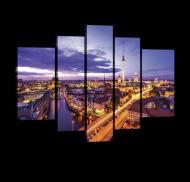 Модульная картина на холсте 2x40x60/2x30x80/1x30x100 см Ночной Берлин (PS20084S4A)
