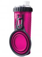 Пляшка Dexas Pet Meal з двома секціями 720 мл зі складною мискою 240 мл Dexas Pet Meal Рожевий