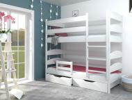 Кровать детская деревянная Lúna Лакки 90x200 см с защитным бортом и ящиками для белья Белый