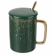 Чашка керамическая Green&Gold 380 мл с ложечкой и крышечкой