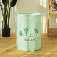 Кошик для білизни Berni Home Кактуси тканинний на зав'язках Зелений (49486)