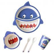 Посуд дитячий бамбуковий Акула набір з 5 предметів UFTBP2