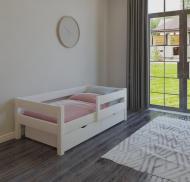 Кроватка детская односпальная Massiv Винни 80х160 с бортиком защиты и двумя ящиками Белый