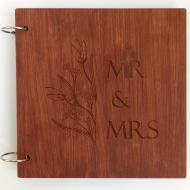 Свадебная книга пожеланий с дерева FILWOOD персональная гравировка 21x21 см 60 страниц