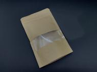 Пакет паперовий дой-пак крафт з прозорим вікном і zip-застібкою 22х27 см 100 шт (1022272627)