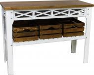Консольный столик Древоделя Прованс 3 77х105х40 см Белая патина/Орех (60623)