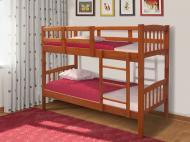 Кровать детская двухъярусная из натурального дерева Микс Мебель Бай-Бай без матраса Орех-темный