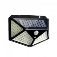 Ліхтар на сонячній батареї Solar Wall Lamp 100 LED з датчиком руху Чорний (7317 / 1L)