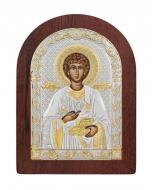 Икона Святой Пантелеймон Agio Silver 7,5x5,7 см серебро 925° с позолотой Коричневый