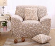 Чохол на крісло HomyTex Біфлекс універсальний з малюнком Геометрія Бежевий