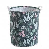 Кошик для білизни Berni Home Green plants тканинний з ручками Зелений (57271)