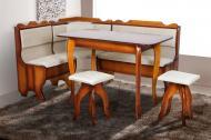 Кухонний куточок м'який з дерева Мікс Меблі Ромео зі столом і двома табуретами Горіх/Сірий