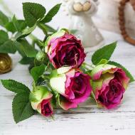 Цветок искусственный Роза 70 см Бордово-зеленый