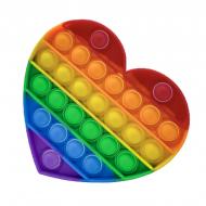 Игрушка-антистресс пупырка Pop It Push Up Bubble Сердце Радужный