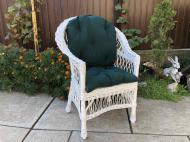 Крісло дерев'яне Woody Стандарт з подушкою садове Білий/Темно-зелений