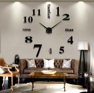 Часы настенные Time 3D Надписи 100 см Черный