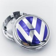 Ковпак заглушка в литі диски VW Фольксваген 65 мм 1 шт. Синій/Хром