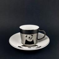 Зеркальная чашка с блюдцем Olens Панда отражает рисунок 250 мл (08030-88)