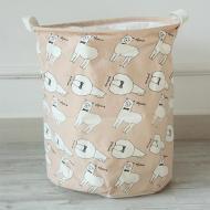 Кошик для білизни Berni Home Лами тканинний на зав'язках Бежевий (49411)