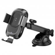 Автотримач для телефону Baseus Smart Vehicle with wireless charger Black