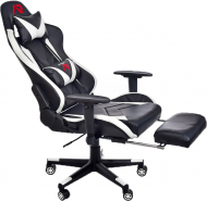 Кресло геймерское с подножкой для ног Aragon Белый