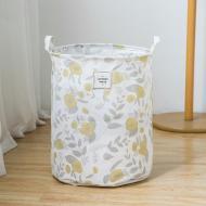 Кошик для білизни Berni Home Жовті квіти тканинний з ручками Білий (58963)