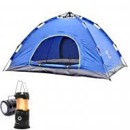 Автоматическая палатка 4-местная Синий + Фонарь для кемпинга
