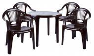 Комплект садовой мебели Алеана Круг Луч стол и 4 стула Шоколадный