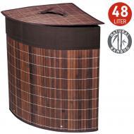 Кошик для білизни Tatkraft ATHENA кутова з бавовняним мішком коричнева бамбук 48 л 35x35x50 см (11250)