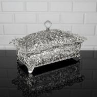 Шкатулка металлическая Zeyve Rose со стеклянной крышкой 30x18x17 см Серебро (S-525G)