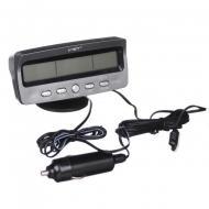 Автомобільний годинник VST 7045 електронний з термометром Чорний/Сірий (1257588632)