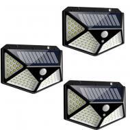 Комплект ліхтарів 3 шт на сонячній батареї Solar Motion 100 LED з датчиком руху Чорний (7317/3L)