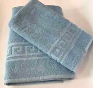 Набор полотенец с орнаментом 2 шт. Голубой (50х90 см/70х140 см)