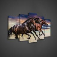 Модульная картина на холсте 2x20x40/2x20x50/1x20x60 см Три коня (PS496S17)
